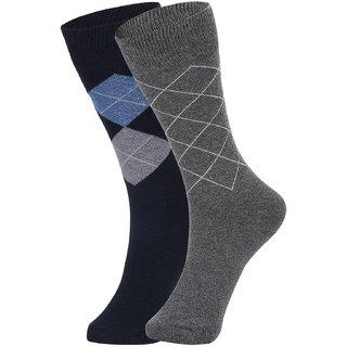 DUKK Men's Navy Blue  Grey Glean Length Cotton Lycra Socks (Pack of 2)