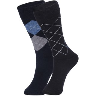 DUKK Men's Navy Blue Glean Length Cotton Lycra Socks (Pack of 2)