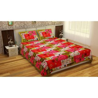 Spangle Printed Multicolor Cotton Double Bedsheet With 2 Pillow Cover