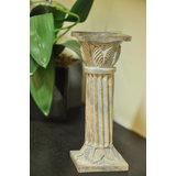 Leaf Carved Columnar Candle Holder