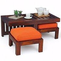 Altavista Perk Coffee Table With Stool (Mahogany Finish)