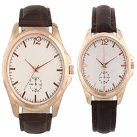 Combo Of Round Dial Leather Strap Elegant Analog Wrist Watches