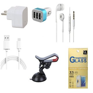 13Tech 1.0 Amp USB Charger+3 mtr Copper (Data Transfer+Charging) Cable +Universal Handsfree 3.5 mm Jack Headphones+3 Jack Car Charger+Mobile Holder+Tempered Glass for Samsung Galaxy J3