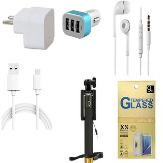 13Tech 1.0 Amp USB Charger+3 mtr Copper (Data Transfer+Charging) Cable +Universal Handsfree 3.5 mm Jack Headphones+3 Jack Car Charger+Sefie Stick Aux+Tempered Glass for Samsung Galaxy J3