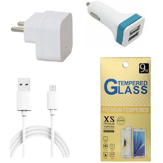13Tech 1.0 Amp USB Charger+3 mtr Copper (Data Transfer+Charging) Cable  +2 Jack Car Charger+Tempered Glass for Samsung Galaxy J3