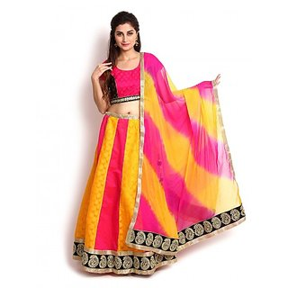 Yellow  Pink Banarasi  Georgette Lehenga