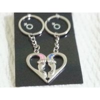 Broken Heart Shape With Leg Shape Key Chain With Different Color