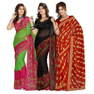 Pack of 3-Sukuma Printed Georgette Saree with Blouse