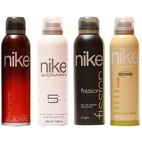 Nike Deodorants Extreme Fission For Men And 5th Element  Urban Musk For  Women 200ml Each (Pack Of 4)