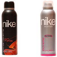 Nike Deodorants On Fire And Extreme For Man  Woman 200ml Each (Pack Of 2)