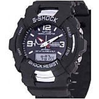 fast selling S-Shock Black Round Digital And Analog Sports Watch With Light For Men