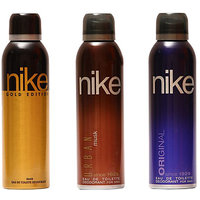 Nike Deodorants Gold Edition, Urban musk and Original for Men 200ml Each (Pack of 3)