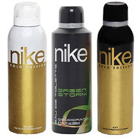 Nike Deodorants Gold Edition For Men  Women And Green Storm For Men 200ml Each (Pack Of 3)