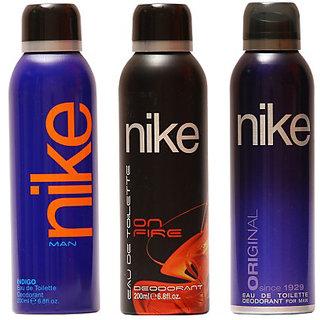 Nike Deodorants Indigo on fire and Original for Men 200ml Each (Pack of 3)