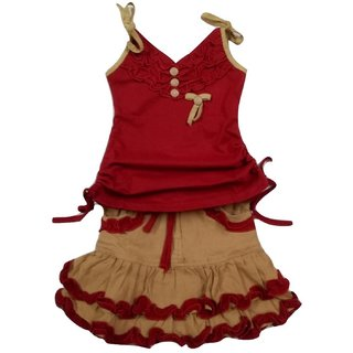 maroon skirt n top set