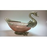 Bird Shape Bowl In White Metal And Antique Finish (Peach Colour)