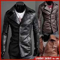 P001 - Italiano TUCCI Slim Long Semi Leather Jacket For Men Party Wear any Season Smart Wear Jacket