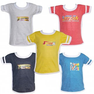Boys Combo of 5 Assorted Half Sleeve Tshirt