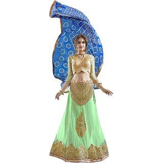Triveni Marvelous Green Colored Embroidered Net Satin Lehenga Choli