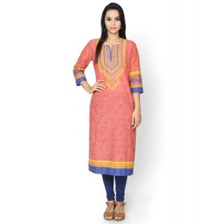 Rangriti Printed Pink Cotton Kurta By Shopclues @ Rs.319