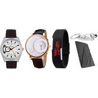 Combo Of Jack Klein Stylish Analog Wrist Watch , Moving Beads Watch , Black Led Watch , Credit Card Knife And Keychain