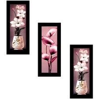 MLH Handicraft Satin Matt Textured Art Canvas Painting With Black Frame Set of 5