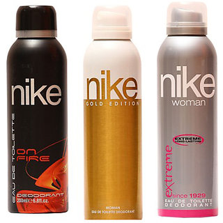 Nike Deodorants On Fire for Man and Gold Edition Extreme for Woman 200ml Each (Pack of 3)
