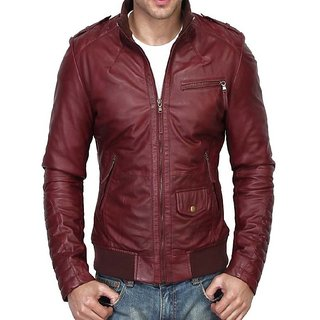 Leather collection Maroon Colour 100 Percent Genuine Leather jacket for Men's