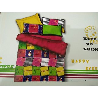 Akash Ganga Multicolor Cotton Double Bedsheet with 2 Pillow Covers (HAR-05)