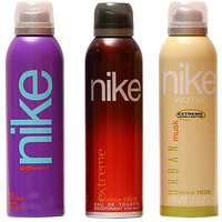 Nike Deodorants Extreme For Men And  Purple, Urban Musk For Women 200ml Each (Pack Of 3)