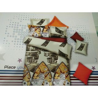 Akash Ganga Multicolor Cotton Double Bedsheet with 2 Pillow Covers (HAR-09)