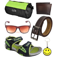Elligator Stylish Floater With Gym Bag,Wallet,Belt,Sunglass And Smiley Key Chain Combo - 98127920