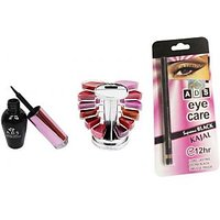 ADS Waterproof Eyeliner with Lipgloss Palette and Kajal  (Set of 3)