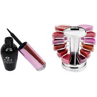 ADS Waterproof Eyeliner with Lipgloss Palette  (Set of 2)