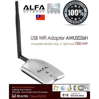 New Alfa AWUS036H v5 1000mW USB Wireless-G WiFi Adapter+5dBi Antenna Long-Range