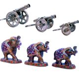 Buy Pure Brass Canon Set N Get Paper Mache Handicraft Free