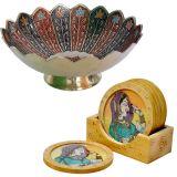 Buy Pure Brass Minakari Work Fruit Bowl N Get Wooden Tea Coasters Free