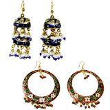 Buy Red Green Jaipuri Meenakari Brass Earring N Get Blue Earring Free