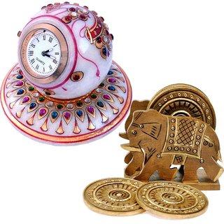 Buy Gold Painted Marble Table Clock N Get Wooden Tea Coaster Free