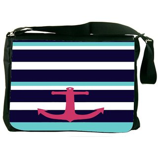 Snoogg Anchor Multi Stripe Digitally Printed Laptop Messenger  Bag