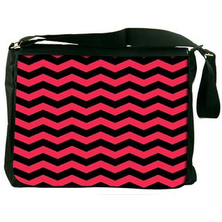 Snoogg Black And Pink Waves 2568 Digitally Printed Laptop Messenger  Bag