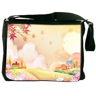 Snoogg Colorful Town 2609 Digitally Printed Laptop Messenger  Bag