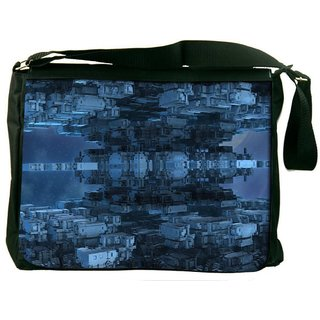 Snoogg Cuboid Building 2614 Digitally Printed Laptop Messenger  Bag