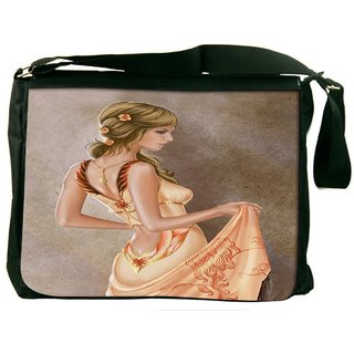 Snoogg Elegant Woman 2623 Digitally Printed Laptop Messenger  Bag