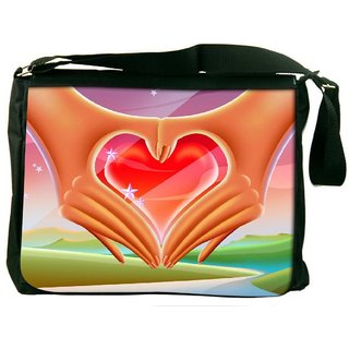 Snoogg Hands Forming A Heart 2640 Digitally Printed Laptop Messenger  Bag