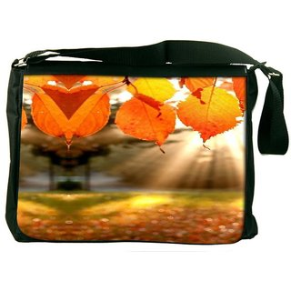 Snoogg Autumn Leaves Designer Laptop Messenger Bag