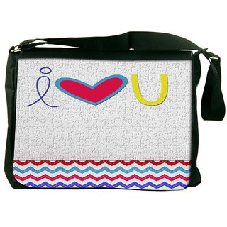 Snoogg I Love You White Digitally Printed Laptop Messenger  Bag