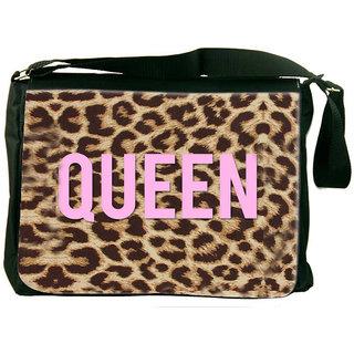 Snoogg Queen Leopard Print Designer Laptop Messenger Bag