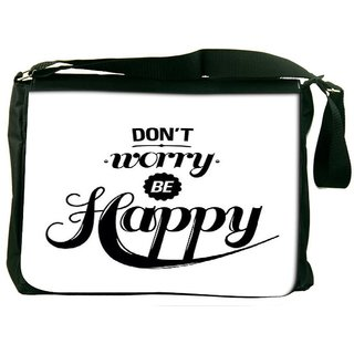 Snoogg Be Happy Designer Laptop Messenger Bag
