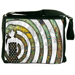 Snoogg Girl On A Coloful Pattern 2779 Digitally Printed Laptop Messenger  Bag